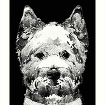'Black And White West Highland Terrier Dog Art Sharon Cummings' Art Print by Sharon Cummings