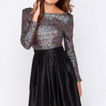 Wyldr First Class Multi Sequin Crop Top