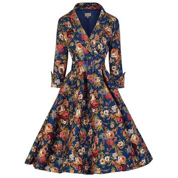Women's Dresses 2/3 Sleeve vintage elegant Belted Retro 50s
