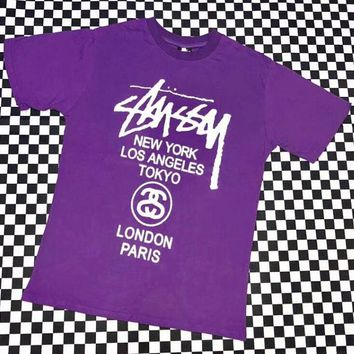 Stussy classic world parade men and women round neck pullover T-shirt F-AG-CLWM