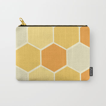 Yellow Honeycomb Carry-All Pouch by spaceandlines