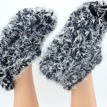 Crocheted foot warmers for cold feet handmade gift furry footwear grandpa gift boots for home