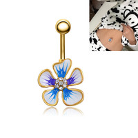 New Charming Dangle Crystal Navel Belly Ring Bling Barbell Button Ring Piercing Body Jewelry = 4804854212
