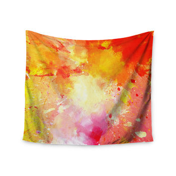 "CarolLynn Tice ""Splash"" Orange Yellow Wall Tapestry"