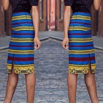 Multicolor Colorful Striped Print Bandeau Off Shoulder Short Sleeve Slit Midi Dress