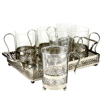 Vintage Chrome Filigree Serving Set, Tray, Cup Holders, Duralex Glass Inserts, Coffee Caddy Set