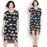 Black Dandelion Print Sheer Mesh High-Low Dress