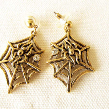 Gold Spider Web With Spider and Clear Rhinestone Pierced Dangle Earrings Vintage Jewelry