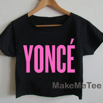 New YONCE Logo Beyonce Yonce Hipster Printed Crop top Tank Top Women Black and White Tee Shirt - MM2