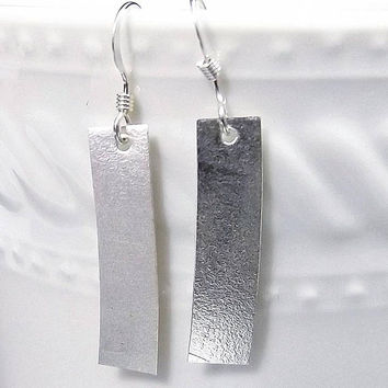 Matte Rectangle Sterling Silver Drop Earrings