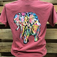 Backwoods Watercolor Elephant Comfort Colors Bright Unisex T Shirt