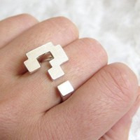 Block Question mark  Ring  Adjustable by TangoBabyStore on Etsy