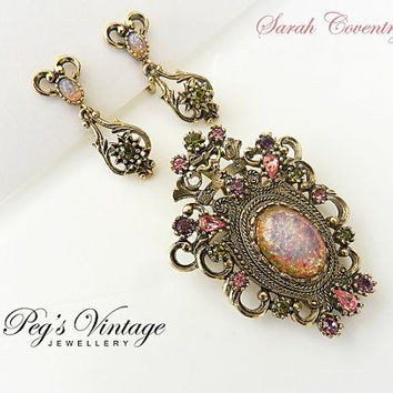 "Vintage SARAH COVENTRY ""Contessa"" Fire Opal Brooch//Pendant Earring Demi Set"