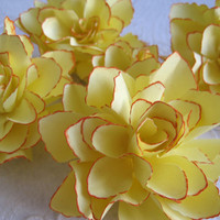 Handmade Butter Yellow Paper Flowers with Tangerine Accents - Set of 5