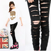 S/M/L Sexy Fashion Women Cut-out Punk Ripped Pant Skinny Jeans Jeggings Trousers