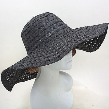 2015 Black Wedding Dress Hat Kentucky Derby Hat Women Wide Brim Church Hat New