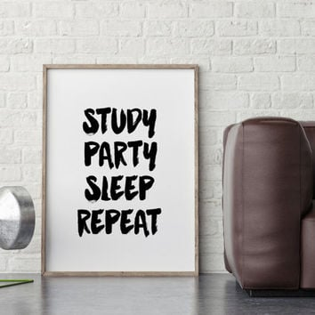 University Dorm Room Wall Art, Dorm Decorations,College Student Gift,Study Party Sleep Repeat Typography Print,Black College Dorm Decor