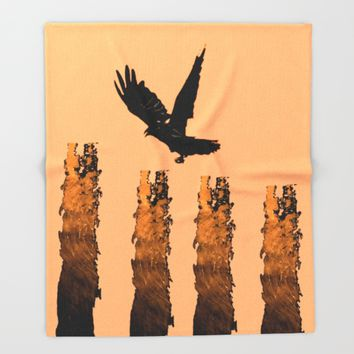 Crow Prey Throw Blanket by ES Creative Designs