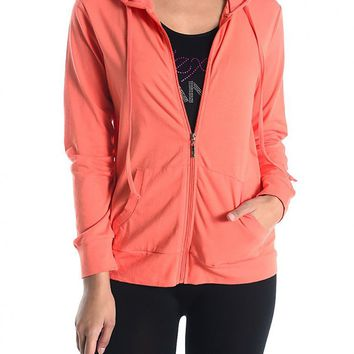 Long Sleeve Front Zipper Drawstring Hooded Workout Thin Sweater Top