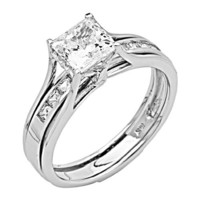 .925 Sterling Silver Rhodium Plated Engagement Ring