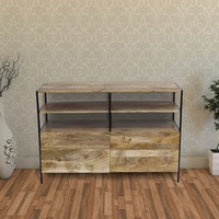 Mango Wood and Metal Tv Console Stand With Storage Cabinet, Brown By The Urban Port
