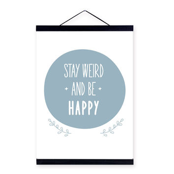 Modern Minimalist Typography Happy Quotes Wooden Framed Canvas Painting Living Room Decor Wall Art Print Picture Poster Hanger