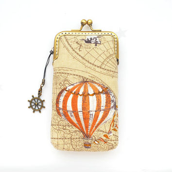 Hot Air Balloon iPhone case fabric gadget case iPhone sleeve brown( iPhone 5s iPhone 5c, Samsung Galaxy S4 S3 size available)