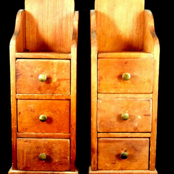 Antique  wooden-Shelves-With-3-Storage-Drawers-Rustic-Wood-Distressed  FREE SHIPPING!!-