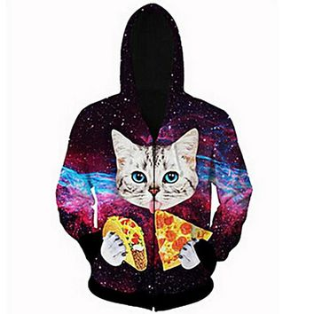 HOT Men Casual Hooded Sweatshirt Cat Eating Tacos Pizza 3D Space Galaxy Hoodie Zipper Outerwear Tracksuits Hoodies