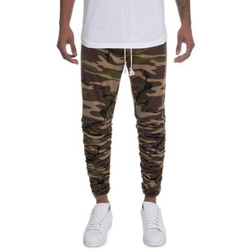The Santos Rouched Leg Jogger Sweats in Woodland Camo