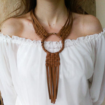 Leather woven necklace, large ring pendant with braided fringe, tribal boho bib chest neck piece, statement tassel jewelry, engagement gift