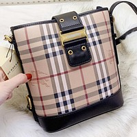Burberry New fashion leather shoulder bag crossbody bag bucket bag Black