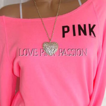 VICTORIAS SECRET PINK BRIGHT NEON PULLOVER SLOUCHY SWEATSHIRT TOP NWT XS