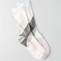 AEO Asymmetrical Crew Socks, Medium Heather