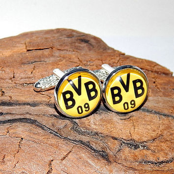 Borussia Dortmund Football logo cufflinks, FC Borussia Dortmund cuff links, Borussia Dortmund Football team, Borussia emblem patch cufflinks