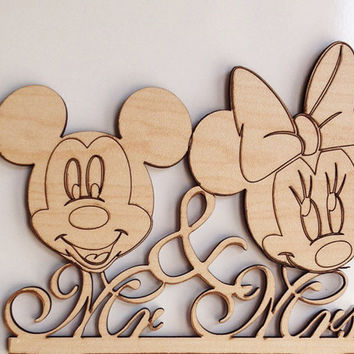 Mickey and Minnie mouse silhouette wedding cake topper, mr and mrs wedding cake topper, disney cake topper, wooden wedding cake toppe