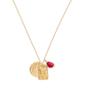 Tess and Tricia Lyra Red Charm Trio Necklace