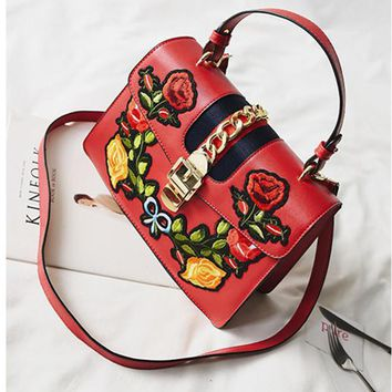 Fashion Retro Multicolor Embroidery Flower Handbag Shoulder Bags Messenger Bag