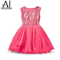 Girl Dress Sequins Event Gown Dresses For Toddler Girls Clothes Lace Little Bridesmaid Kids Dresses