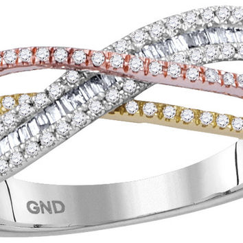10kt White Gold Womens Round Diamond Tri-tone Crossover Band Ring 3/8 Cttw 114416