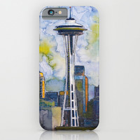 "Seattle Washington Fine Art Watercolor Painting ""Seattle Space Needle"" iPhone & iPod Case by Jade Dumpling"