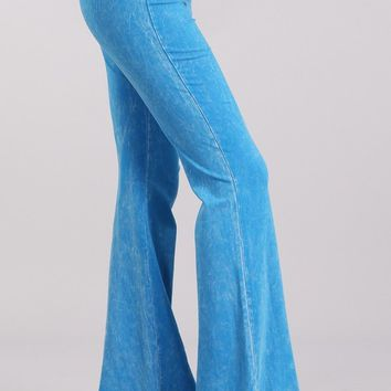 Chatoyant Mineral Wash Flare Pants in Deep Azure Blue