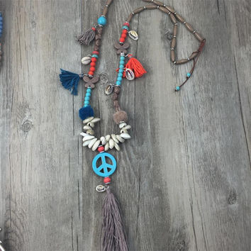Rainbow Tassel Peace Turquoise Pendant Bohemia style Handcraft jewelry String Long Necklace