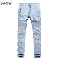 New Spring Fashion Jeans Blue Slim Straight Denim Casual Biker Jeans Classical Design Men's Trousers
