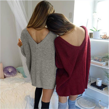 1 Pc Sexy V-neck Knitted Sweater Dress Solid Color Long-sleeved Loose Women Long Pullover # 36833