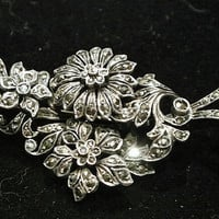 Antique Brooch Sterling Marcasite Tiered Layered Flowers Floral Circa 1900s - 1910 Edwardian Art Nouveau Trombone Clasp Layered Heirloom