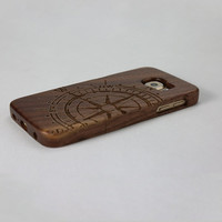Compass Pattern Real Natural Sapele Wood Case For Samsung Galaxy S6 Wooden Cover