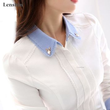 Women Cotton Shirt elegant White Blouse with accessories Female Ladies work wear office shirt New Fashion Long Sleeve Tops