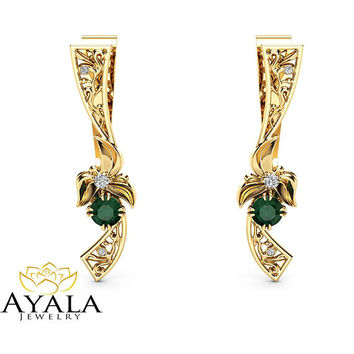 Unique Emerald Earrings Floral 14K Yellow Gold Earrings Unique Emerald Jewelry Anniversary Gift