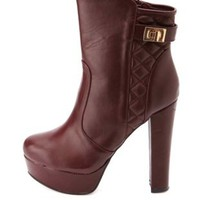 Bamboo Quilted Chunky Heel Platform Booties - Oxblood
